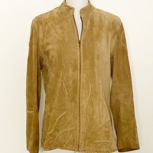 CHICO'S - Embroidered Suede Jacket. Size M
